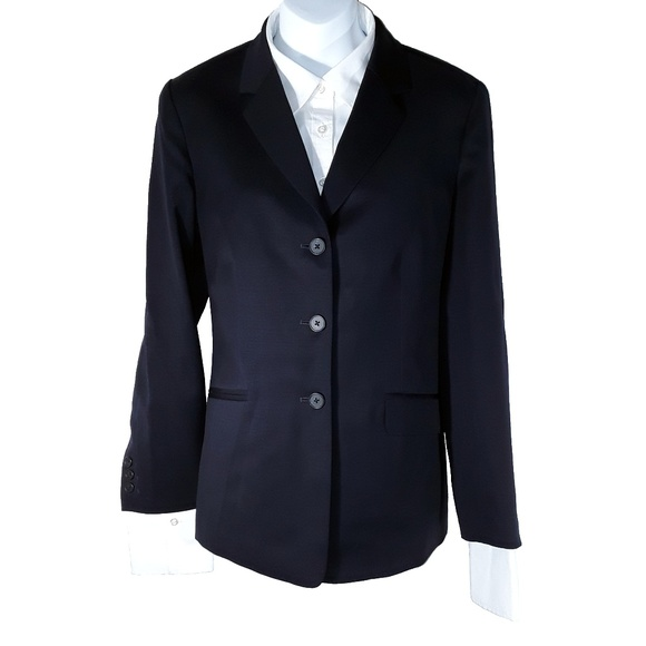 Lands' End Jackets & Blazers - Women's Navy Dark Blue Lands End Work Blazer Coat